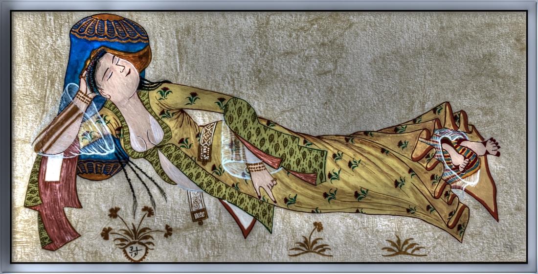 Joven durmiendo, miniatura de Levni, Museo del Palacio Topkapi.